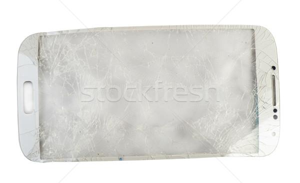 Quebrado telefone vidro branco isolado Foto stock © deyangeorgiev