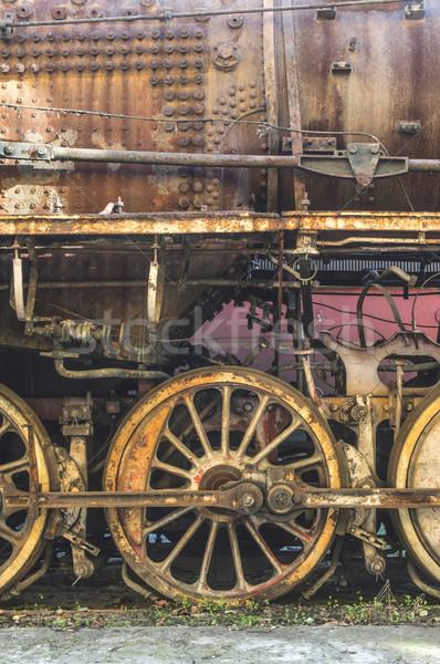 Details oude stoomlocomotief wielen bouw Stockfoto © deyangeorgiev
