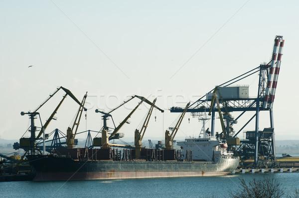 Commercial port cranes Stock photo © deyangeorgiev