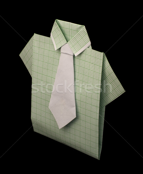 Isolated paper made green plaid shirt. Stock photo © deyangeorgiev