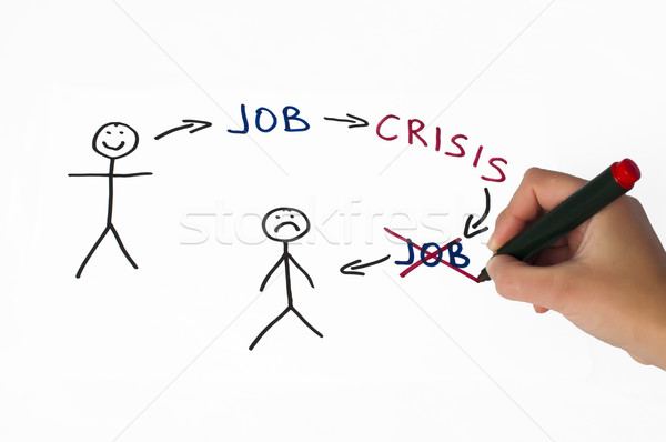 Job and crisis conception illustration over white Stock photo © deyangeorgiev