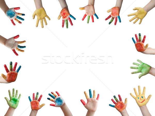 Enfants mains main cole peinture art photo stock deyan georgiev deyangeorgiev - Peinture main enfant ...