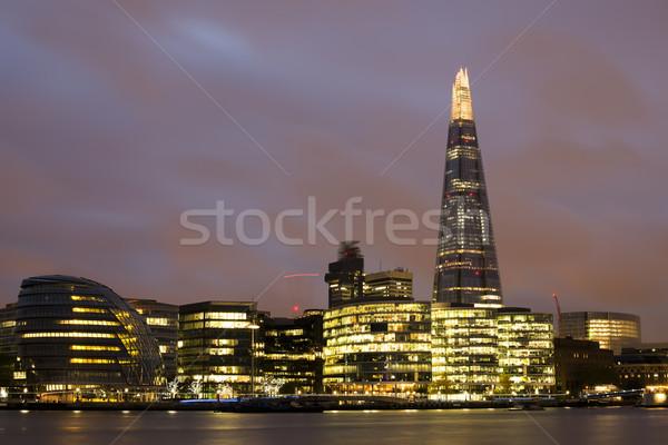 Város London Temze naplemente város fények iroda Stock fotó © deyangeorgiev