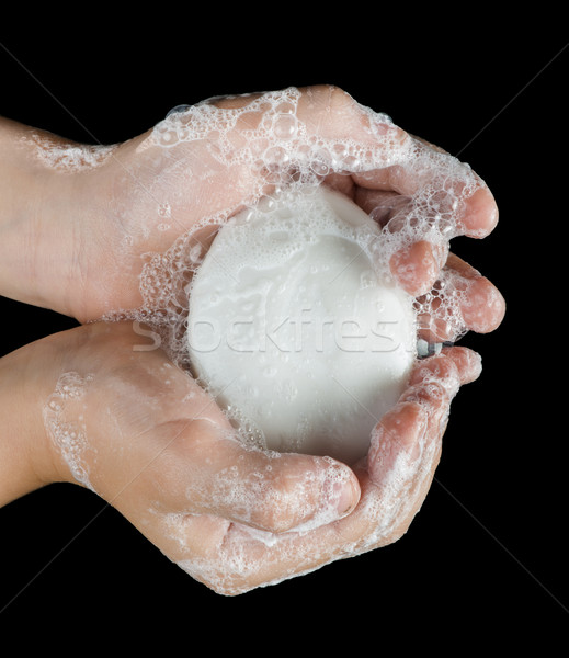 Lathered hands and soap Stock photo © deyangeorgiev