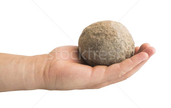 Stock photo: Hand holding stone ball