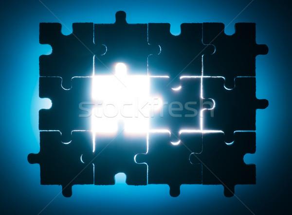 Bois puzzle rétroéclairage bleu couleur Photo stock © deyangeorgiev