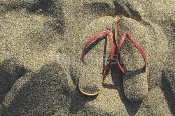 Sandały piasek na plaży różowy plaży moda lata Zdjęcia stock © deyangeorgiev