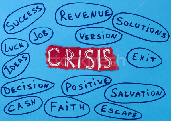 Crisis concept white text on red background.Job and solutions Stock photo © deyangeorgiev