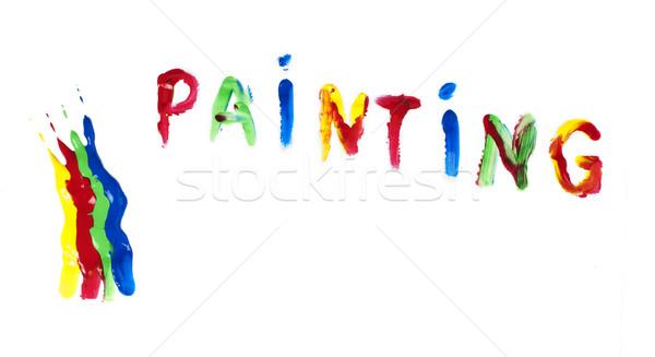 Paint coated on paper. Text painting. Stock photo © deyangeorgiev