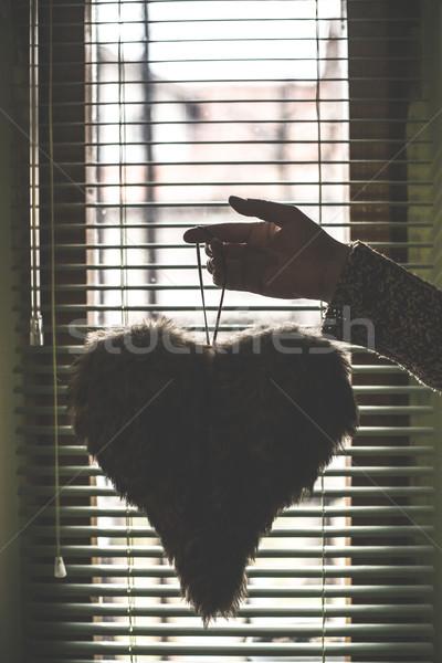 Kalp şekli pencere su doku duvar soyut Stok fotoğraf © deyangeorgiev