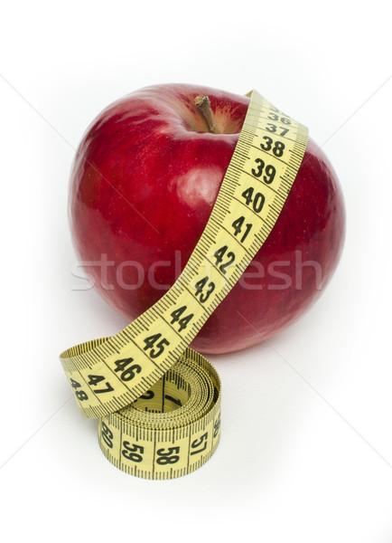 Rode appel centimeter witte geïsoleerd natuur Rood Stockfoto © deyangeorgiev