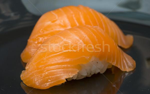 Sushi bar tablo somon restoran kırmızı Stok fotoğraf © deyangeorgiev