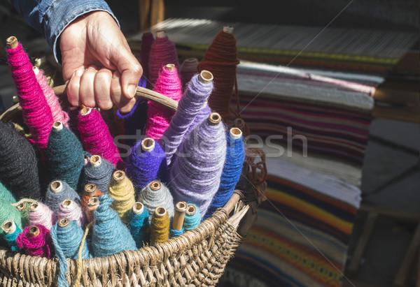 Colorido hilados vintage diseno fondo coser Foto stock © deyangeorgiev