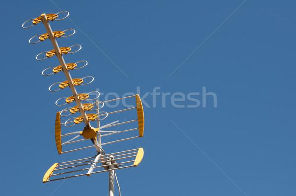 Antenna cielo blu casa televisione home metal Foto d'archivio © deyangeorgiev