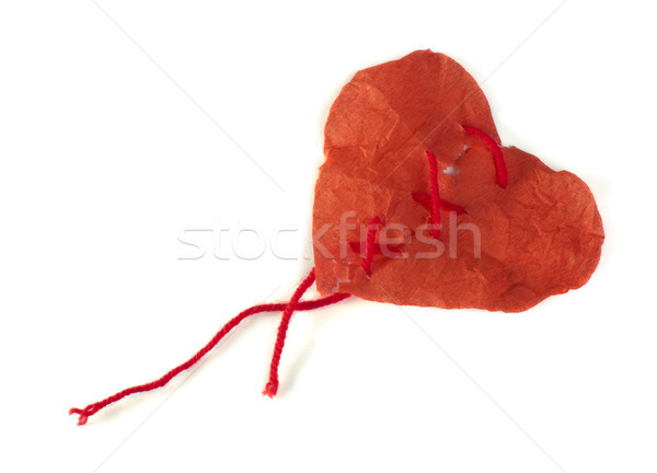 Heart made of curled red pape Stock photo © deyangeorgiev