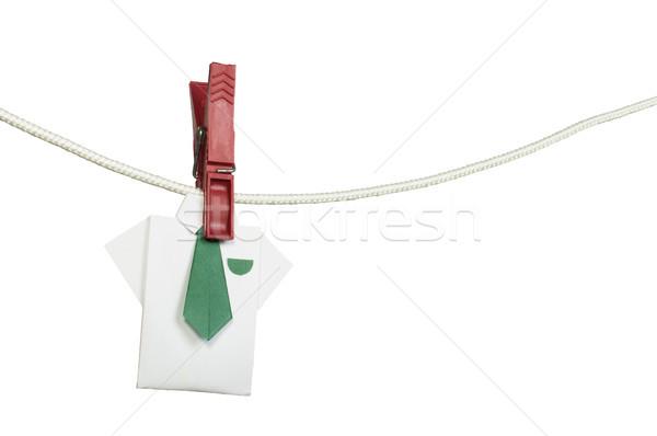Origami shirt on rope Stock photo © deyangeorgiev