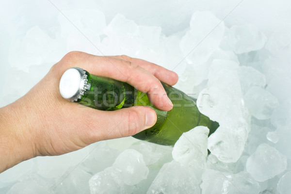 Stock photo: Bottle of beer and ice cubes
