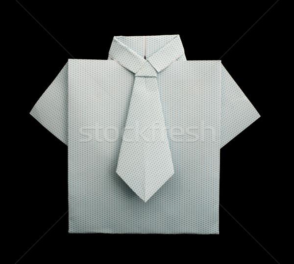 Isolated paper made white plaid shirt. Stock photo © deyangeorgiev