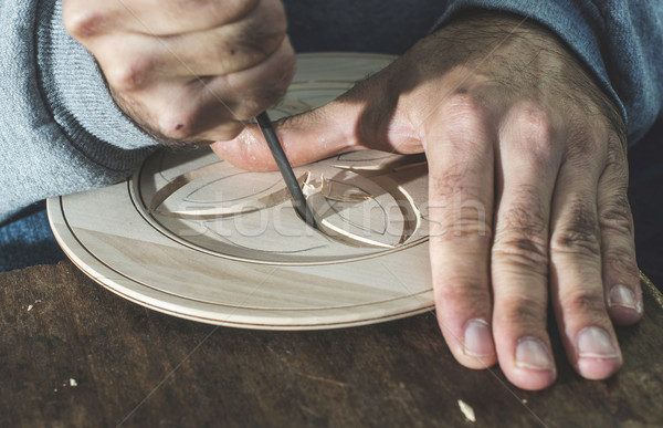 Woodcarver makes threaded plate Stock photo © deyangeorgiev