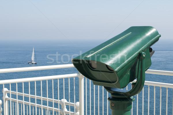 зеленый туристических телескопом морем мнение небе Сток-фото © deyangeorgiev