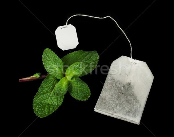 Tea bag and fresh mint Stock photo © deyangeorgiev