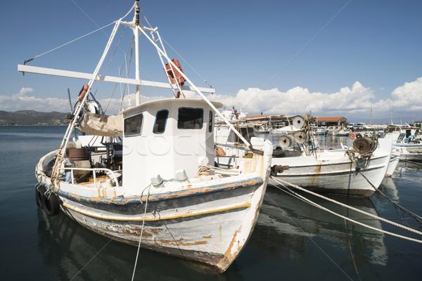 Połowów łodzi Grecja dzień świetle wody Zdjęcia stock © deyangeorgiev