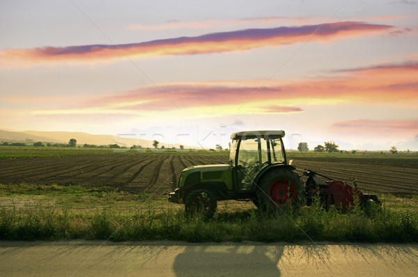 Plowed land and tractor  Stock photo © deyangeorgiev