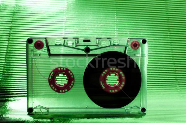 Cassette nastro trasparente verde colore sfondo Foto d'archivio © deyangeorgiev
