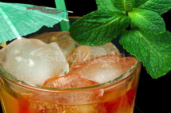 Chá gelado vidro de fruto folhas Foto stock © deyangeorgiev