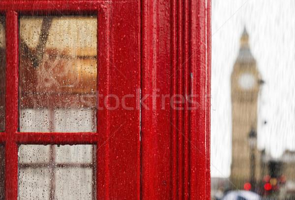 Big Ben Rood telefoon regenachtig dag Londen Stockfoto © deyangeorgiev