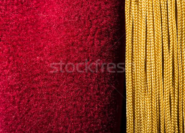 Red velvet curtain with tassel Stock photo © deyangeorgiev