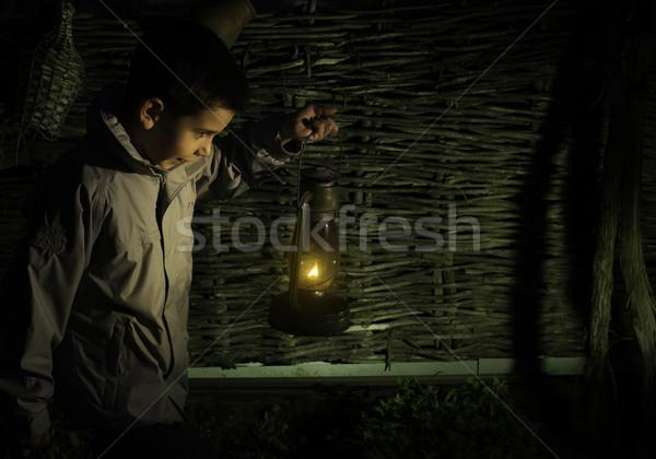 Gyermek séta sötétség benzin lámpás égbolt Stock fotó © deyangeorgiev