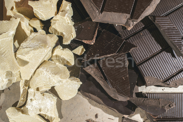 Pieces of cocoa butter and chocolate Stock photo © deyangeorgiev
