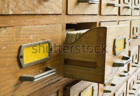 Vecchio archivio cassetti legno retro informazioni Foto d'archivio © deyangeorgiev