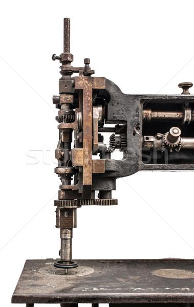 Foto d'archivio: Vintage · macchina · da · cucire · bianco · isolato · moda · lavoro