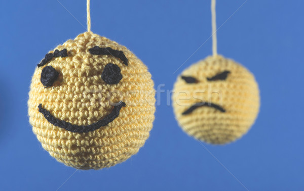 Gebreid Geel Blauw glimlach liefde Stockfoto © deyangeorgiev