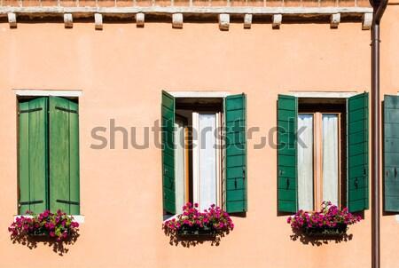 венецианский Windows цветы цветок домой красоту Сток-фото © deyangeorgiev