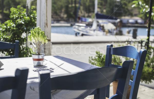 Tablo Yunan restoran gün ışık yaz Stok fotoğraf © deyangeorgiev