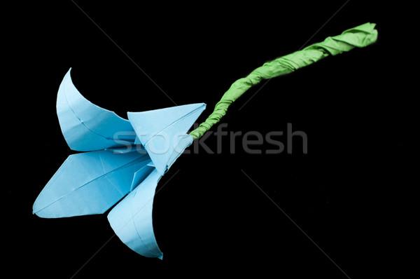 синий цветок оригами черный изолированный бумаги дизайна Сток-фото © deyangeorgiev