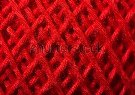 Stock photo: Red yarn close up
