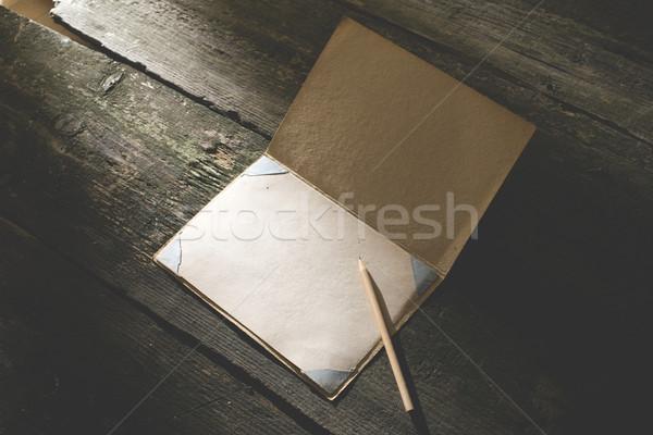 Vintage pencil and drawing paper Stock photo © deyangeorgiev
