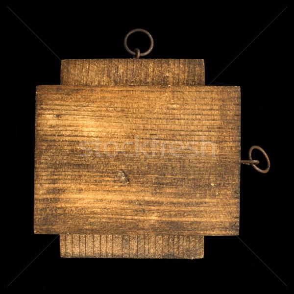Prostokątny kawałek czarny odizolowany drewna Zdjęcia stock © deyangeorgiev