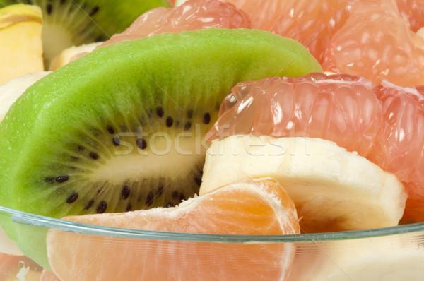 Vruchtensalade citrus glas kom witte vruchten Stockfoto © deyangeorgiev
