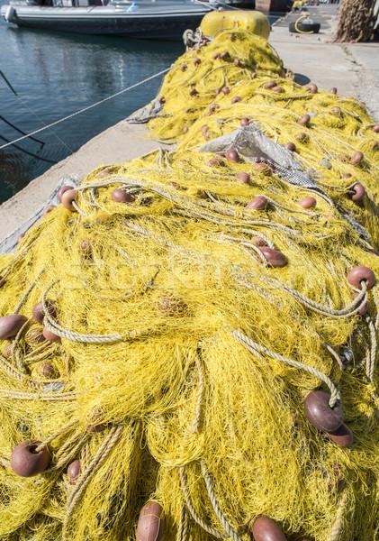 Balık tekne sarı net Yunanistan su Stok fotoğraf © deyangeorgiev