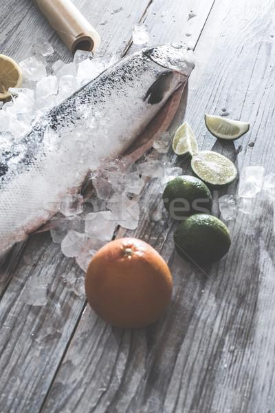 Ruw zalm vis ijs groenten witte Stockfoto © deyangeorgiev