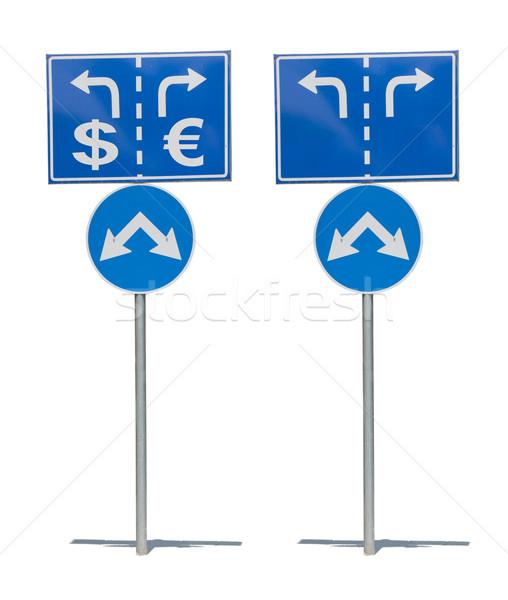 道路標識 2 矢印 ビジネス 背景 ストックフォト © deyangeorgiev