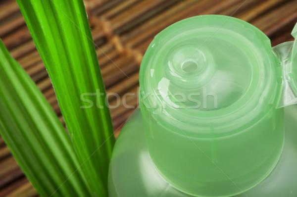 Groene cosmetische fles blad groen blad Stockfoto © deyangeorgiev