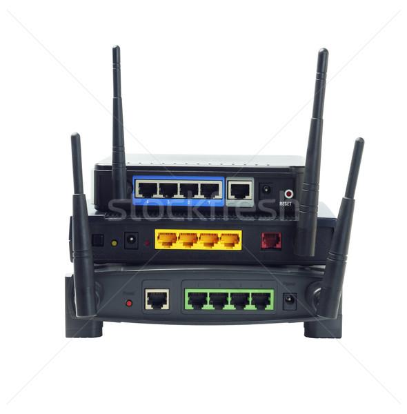 Drótnélküli routerek boglya fehér hálózat háló Stock fotó © dezign56