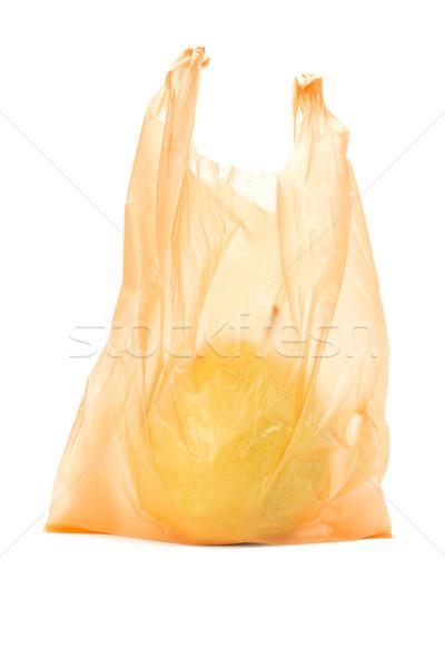 Citromsárga körte narancs műanyag táska fehér Stock fotó © dezign56