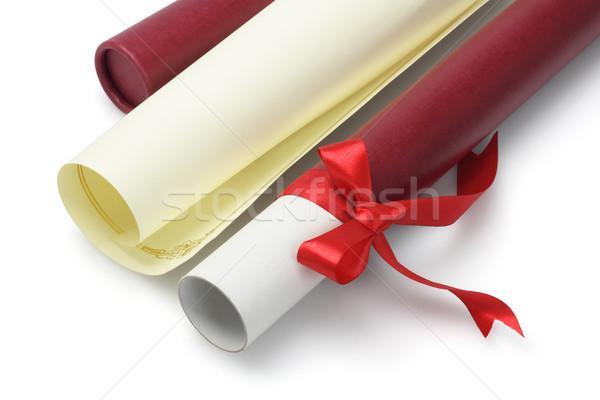 Graduação certidão abrir rolar recipiente branco Foto stock © dezign56